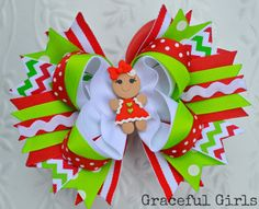 Gingerbread Girl Christmas Hair Bow