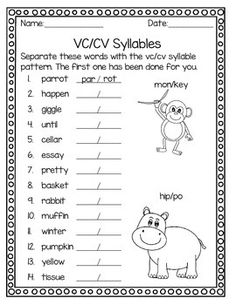 Syllable Patterns V/CV VC/V and VC/CV (No