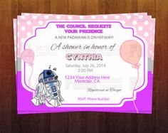 A Baby PADAWAN is on The Way - GIRL Baby Shower Invite - Ready to Print