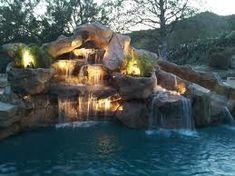 Pool Waterfall Ideas pools with waterfalls design ideas backyard pool in ground pools pool with slide Waterfall Lighting With Slide