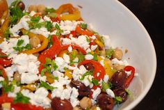 Mediterranean Peppers and Olives Salad Recipe-5pts+ Weight Watchers (162 Calories)