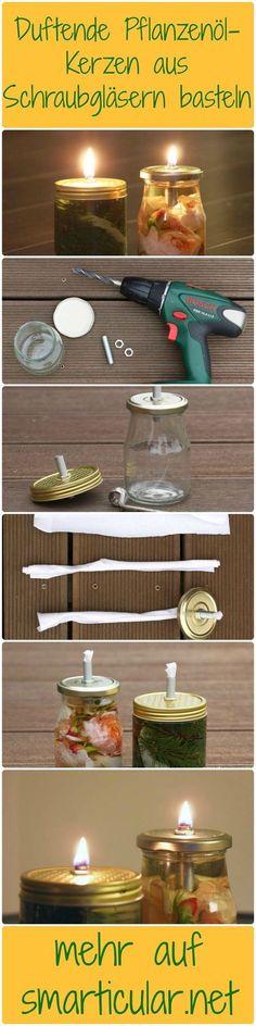 Wohligwarmes Kerzenlicht nachhaltig und preiswert einfach selbst gemacht. Aus einem Glas, etwas Stoff und Pflanzenöl bastelst du schnell eine geniale Öllampe: