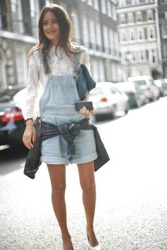Outfit #4:  Light blue denim overalls paired with a white blouse and a dark grey leather jacket