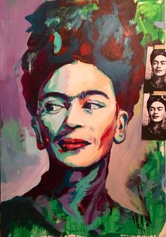 WIP Frida Kahlo Portrait Acrylic on Canvas 120x80cm by Javier Peña - Artespontaneo