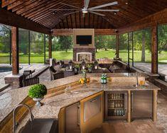 Outdoor Kitchen Patio, Outdoor Patio Designs, Outdoor Kitchen Design, Backyard Patio, Outdoor Spaces, Outdoor Living, Outdoor Decor, Outdoor Kitchens, House Plans