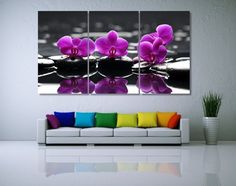 Orchid on Black Stones Photo Canvas Print Flower от GiftVilage