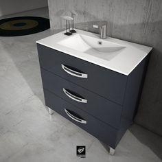 Mueble de baño modelo GARONA de TORVISCO GROUP. Mueble de 80cms y 45 de fondo en acabado GRAFITO BRILLO y con detalle del mismo color en los tiradores. Tres cajones, gran capacidad y resistencia. Con encimera Extrafina. Catálogo BATHONE.