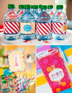 Tons of free printables at the bottom of the page!  Water bottle labels, dessert labels, blanks, banners etc. by sheena