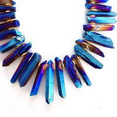 Blue Titanium Quartz Statement Necklace, Raw Crystals Galaxy Necklace