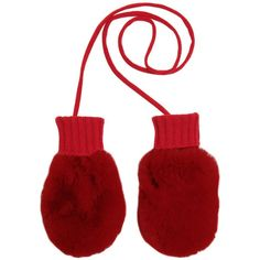 Dolce & Gabbana Kids-girls Cashmere And Lapin Mittens (555 PLN) ❤ liked on Polyvore featuring red