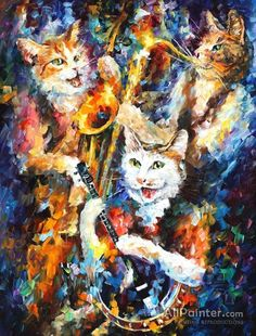 Jamming Cats Artwork By Leonid Afremov Oil Painting & Art Prints On Canvas For Sale Oil Painting On Canvas, Canvas Art Prints, Oil Paintings, Painting Art, Popular Paintings, Ouvrages D'art, Oil Painting Reproductions, Art Moderne, Cat Art