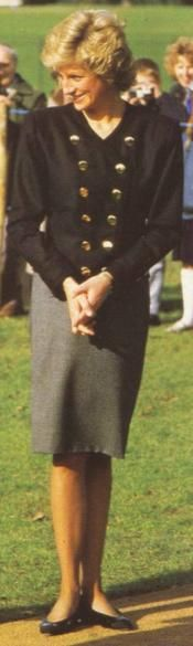 1988-02 Diana at Kensington Gardens after she planted a tree as her contribution to the Prince of Wales' Royal Parks Tree Appeal