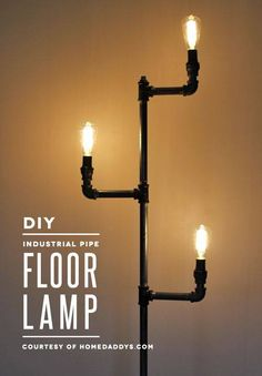 How to make an industrial pipe floor lamp http://howaboutorange.blogspot.com/2014/04/how-to-make-industrial-pipe-floor-lamp.html
