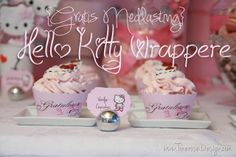 Cupcake Wrappere til Hello Kitty bursdag {Gratis Nedlasting}