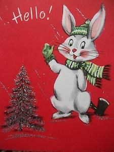 Vintage Greeting Card 'Hello' Christmas Bunny Tree Silver Mica Glitter Child | eBay