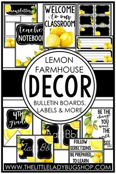 Get ready for back to school with the Fresh Lemon Farmhouse decor theme! This editable set is beautifully unique and has everything you need to decorate your classroom with a clean, cohesive look. The perfect DIY bundle for any elementary classroom, including posters, name plates, alphabet posters, teacher notebook, organization labels, bulletin board decor, and more! #thelittleladybugshop