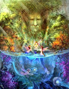 Fantasy fairy and mermaid world. Magical Creatures, Fantasy Creatures, Mermaid Fairy, Mermaid Pics, Mermaid Lagoon, Nature Spirits, Mermaids And Mermen, Fantasy Kunst, Wow Art