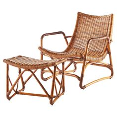Lend a touch of island-chic style to your sunroom or den with this lounge chair and ottoman set, crafted from woven rattan in a natural finish. ...