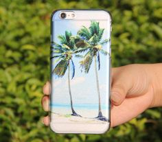Crystal Transparent Sea Beach Palm Tree  iPhone 6 Case,iPhone 5S/5 Case,iPhone 5C Case Abstract Watercolor