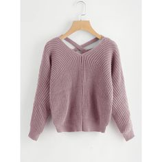 Criss Cross V Back Sweater (805 RUB) ❤ liked on Polyvore featuring tops, sweaters, pink, extra long sleeve sweater, long sleeve sweater, purple sweater, pink pullover and pink sweater