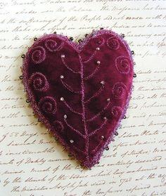 Purple Beaded Velvet Heart
