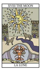 Meanings and illustrations of Tarot Cards in the Major Arcana. Including illustrations, reverse meanings, key words and symbolism, along with free online tarot card readings. Pisces Star Sign, The Moon Tarot Card, Tarot Tattoo, Online Tarot, Moon Shadow, Tarot Major Arcana, Oracle Tarot, Tarot Learning, Tarot Card Meanings