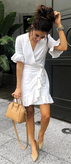 nude and white dress bag heels