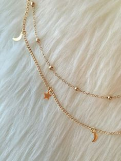 Moon Stars Gold Choker Necklace Double Strand
