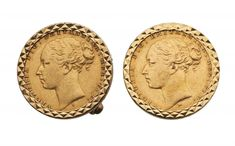 A  PAIR OF 9CT GOLD CUFFLINKS  each set with a sovereign, 22mm, 24g  Sold @ Mellors & Kirk