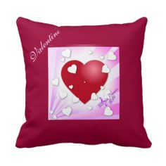 Valentine Hearts Pillow #pillow #square #hearts #valentine #ValentinesDay #moondreamsmusic #decor #red #pink