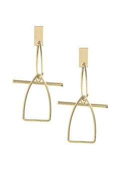"""Geometric Linking Triangle Drop Earrings add a modern twist to your everyday outfit!  Drop is approx. 2.0""""  Geometric Triangle Earrings by Fashion Bella. Accessories - Jewelry - Earrings California"""