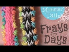 Monster Tail FRAYS for DAYS bracelet. Designed and loomed by SoCraftastic. Click photo for YouTube tutorial. 05/15/14.