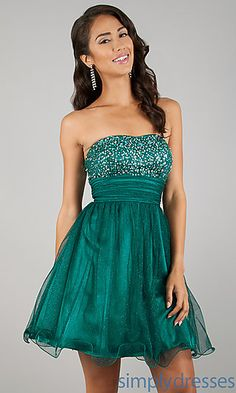 Short Strapless Prom Dress in Green at SimplyDresses.com