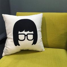 Sit back & relax...it's Tina time // Bobs Burgers Tina Belcher Silhouette Pillow