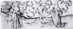 Allegorical Hunt/ Hunting Fidelity -- print engraved by Israhel van Meckenem (d.1503), after the Master PW (Cologne). Girl sets out with her hounds to hunt fidelity in love; encounters hermit who advises her that it is only to be found in God