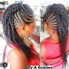 53 Box Braids Hairstyles That Rock - Hairstyles Trends Box Braids Hairstyles, Braided Mohawk Hairstyles, Twist Hairstyles, African Hairstyles, Cool Hairstyles, Hairstyle Ideas, Braided Updo, Hair Ideas, Braided Mohawk Black Hair