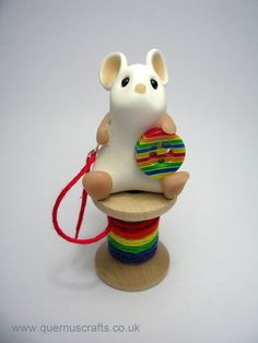 Little Rainbow Sewing Mouse Sculpture Ornament by QuernusCrafts
