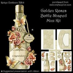 Golden Roses Bottle Shaped Card on Craftsuprint designed by Robyn Cockburn - A beautifully decorated bottle that would suit almost any occasion. Bottle labels and small tags are included so that you can cover birthdays, anniversary, engagement, wedding, retirement etc. The kit contains 5 sheets- bottle front and decoupage layers- bottle back and labels- background sheet- 2 sheets for matching envelope- step by step photographic instructionsCard is approx. 11cm wide by 26cm high. - Now ...