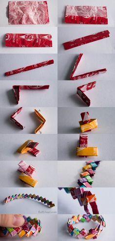 Gum wrapper bracelet - pulsera de papel