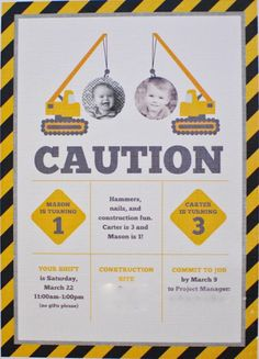 We Heart Parties: A Construction Themed Joint Birthday Party
