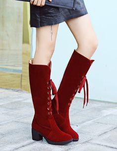 7244bb0af6d Brown Knee High Boots Suede Chunky Heel High Boots Women s Lace Up Snow  Boots