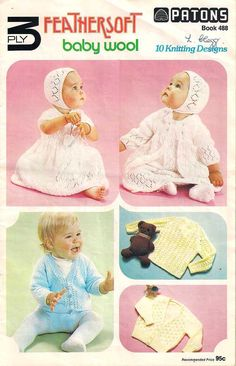 Knits for baby, Patons Knitting book 488, knitting patterns, 1970s 70s seventies knitting for babies, vintage knits, Feathersoft baby wool by Rethreading on Etsy