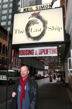 Sting poses underneath the marquee for The Last Ship at the Neil Simon Theatre. I was there! and I met Sting!