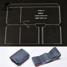 Бумажник тройного сложения акриловый шаблон кожа ремесло узор 928