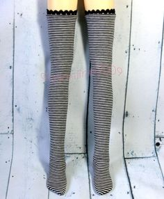 9a3c45f7f 1 3 BJD Black White Stripe Stockings High elasticity SD Super Dollfie AOD  DK DZ