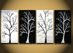 White painting HUGE trees abstract painting wall Art by OritArt, White painting, HUGE trees abstract painting wall Art, Large modern home decor ORIGINAL Canvas Handmade Ready to hang, black and white