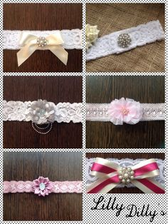 Lilly Dilly's handmade bespoke garters #wedding #lace #garter #bespoke #handmade #ribbon #bow #flower #pearl #diamante #bride