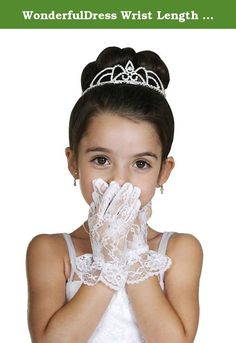 WonderfulDress Wrist Length Ruffled Lace Girl Gloves-White-(1 to 3) Small. Please add this beautiful satin wrist length gloves to stylize your child. She will be noble and gorgeous.