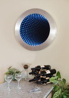 Artist Doug Durkee - Infinity Mirrors - Infinity Art Furnishings Round Brushed Aluminum Mirror