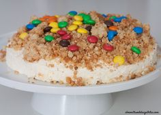 tarta de queso al revés con crumble de M&M´S